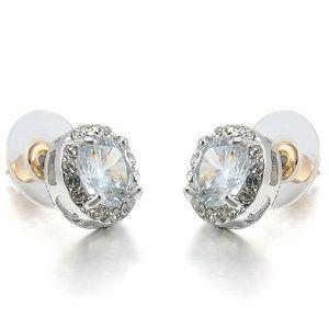 Jewelry - Huge CZ Stud Large Pierced Earrings